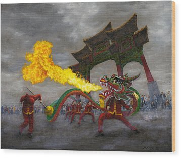 Fire-breathing Dragon Dancer Wood Print