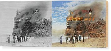 Wood Print featuring the photograph Fire - Cliffside Fire 1907 - Side By Side by Mike Savad