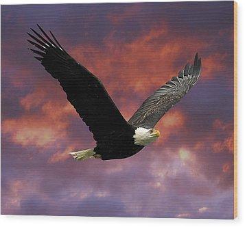 Fire Cloud And Eagle Wood Print