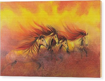 Fire Horses Wood Print by Maria Hathaway Spencer