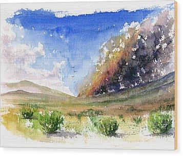 Fire In The Desert 1 Wood Print by John D Benson