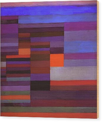 Fire In The Evening Wood Print by Paul Klee
