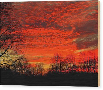 Fire In The Sky Wood Print by Aron Chervin