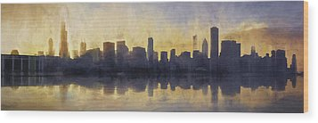 Fire In The Sky Chicago At Sunset Wood Print by Scott Norris