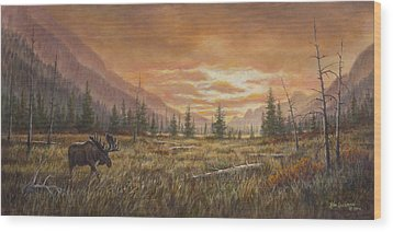 Wood Print featuring the painting Fire In The Sky by Kim Lockman