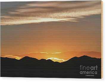 Fire In The Sky Wood Print by Michele Penner