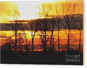 Fire In The Sky Wood Print by Nick Gustafson