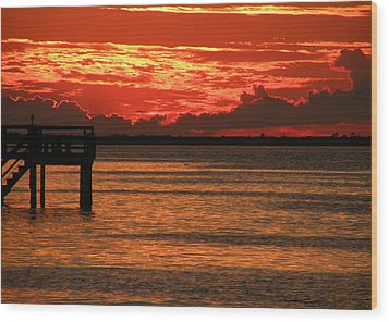 Wood Print featuring the photograph Fire In The Sky by Rosalie Scanlon
