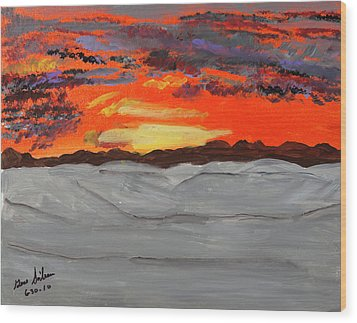 Fire In The Sky Wood Print by Swabby Soileau