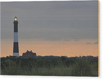 Fire Island Light Wood Print by Christopher Kirby
