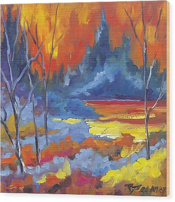 Fire Lake Wood Print by Richard T Pranke