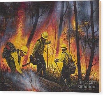 Fire Line 2 Wood Print