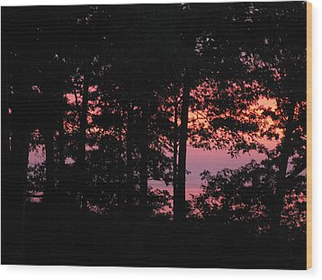 Fire On The Lake Wood Print
