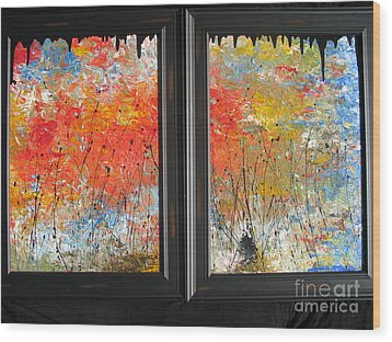 Wood Print featuring the painting Fire On The Prairie by Jacqueline Athmann