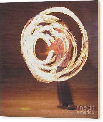Fire Spinner 5 Wood Print by Xn Tyler