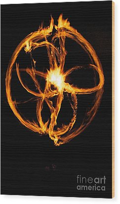 Fire Spinning Wood Print by Darcy Evans