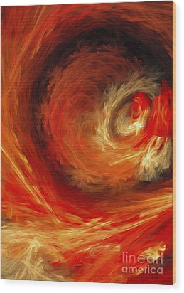 Wood Print featuring the digital art Fire Storm Abstract by Andee Design