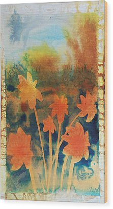 Fire Storm In The Wild Flower Meadow Wood Print by Amy Bernays