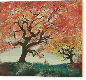Fire Tree Wood Print