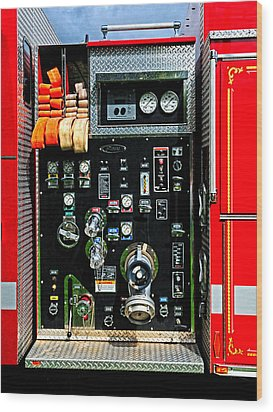 Fire Truck Control Panel Wood Print by Dave Mills