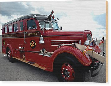 Fire Truck Selfridge Michigan Wood Print