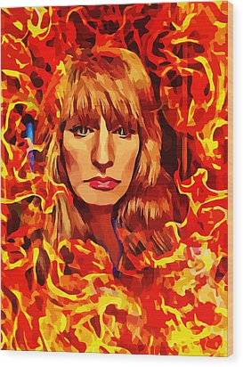 Fire Woman Abstract Fantasy Art Wood Print