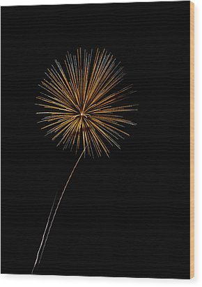Fire Works Bursts Wood Print by Gary Langley