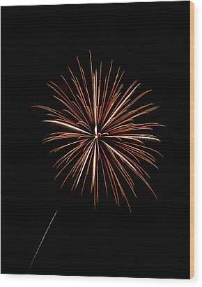 Fire Works Wood Print by Gary Langley