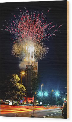Fire Works In Fort Wayne Wood Print