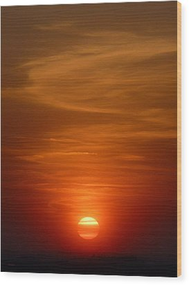 Fireball At Sunset Wood Print