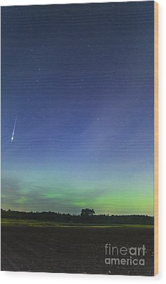 Fireball Two Over The Farm Wood Print