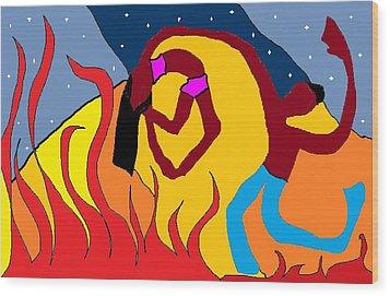 Firedance Wood Print by Van Winslow