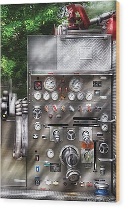 Fireman - Fireman's Controls Wood Print by Mike Savad