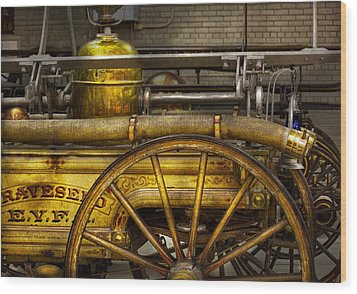 Fireman - Piano Engine - 1855  Wood Print by Mike Savad