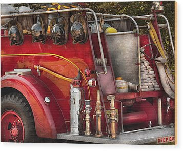 Fireman - Ready For A Fire Wood Print by Mike Savad