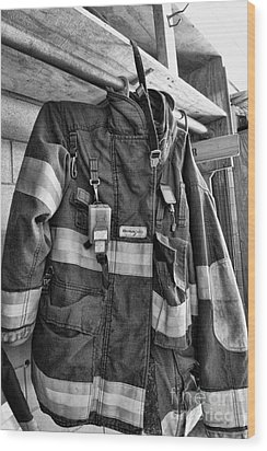 Fireman - Saftey Jacket Black And White Wood Print by Paul Ward