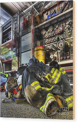 Fireman - Always Ready For Duty Wood Print
