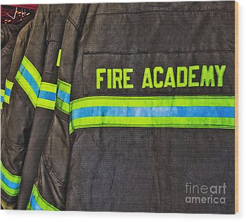 Fireman Jackets Wood Print by Skip Nall