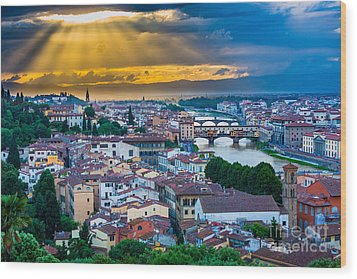 Firenze Sunset Wood Print by Inge Johnsson