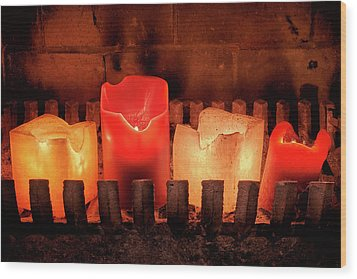 Wood Print featuring the photograph Fireplace Candles by Jim Hughes