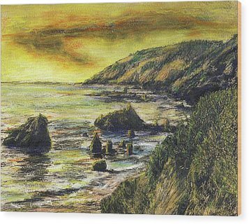 Fires Over Big Sur Wood Print by Randy Sprout