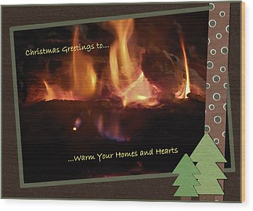Fireside Christmas Greeting Wood Print by DigiArt Diaries by Vicky B Fuller