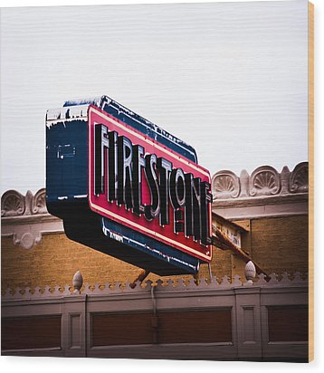 Firestone Horizontal Neon Wood Print by David Waldo