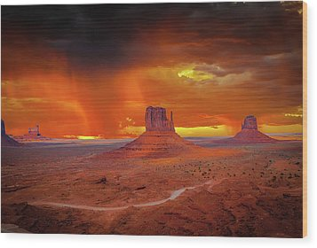 Firestorm Over The Valley Wood Print