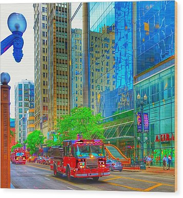 Wood Print featuring the photograph Firetruck In Chicago by Marianne Dow
