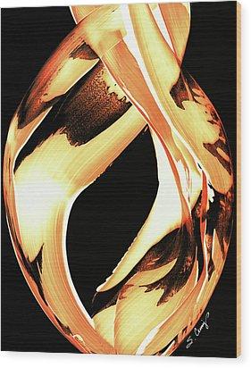 Firewater 1 - Buy Orange Fire Art Prints Wood Print by Sharon Cummings