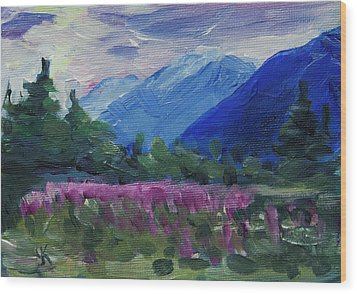 Wood Print featuring the painting Fireweed At Outer Point Alaska by Yulia Kazansky