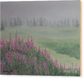 Wood Print featuring the painting Fireweeds Still In The Mist by Stanza Widen