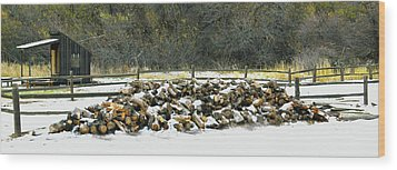 Wood Print featuring the photograph Firewood In The Snow At Fort Tejon by Floyd Snyder