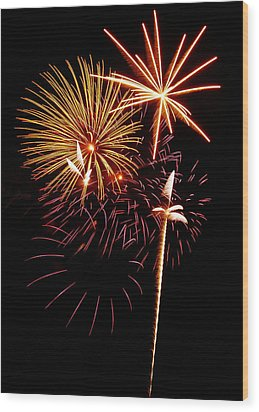 Fireworks 1 Wood Print by Michael Peychich